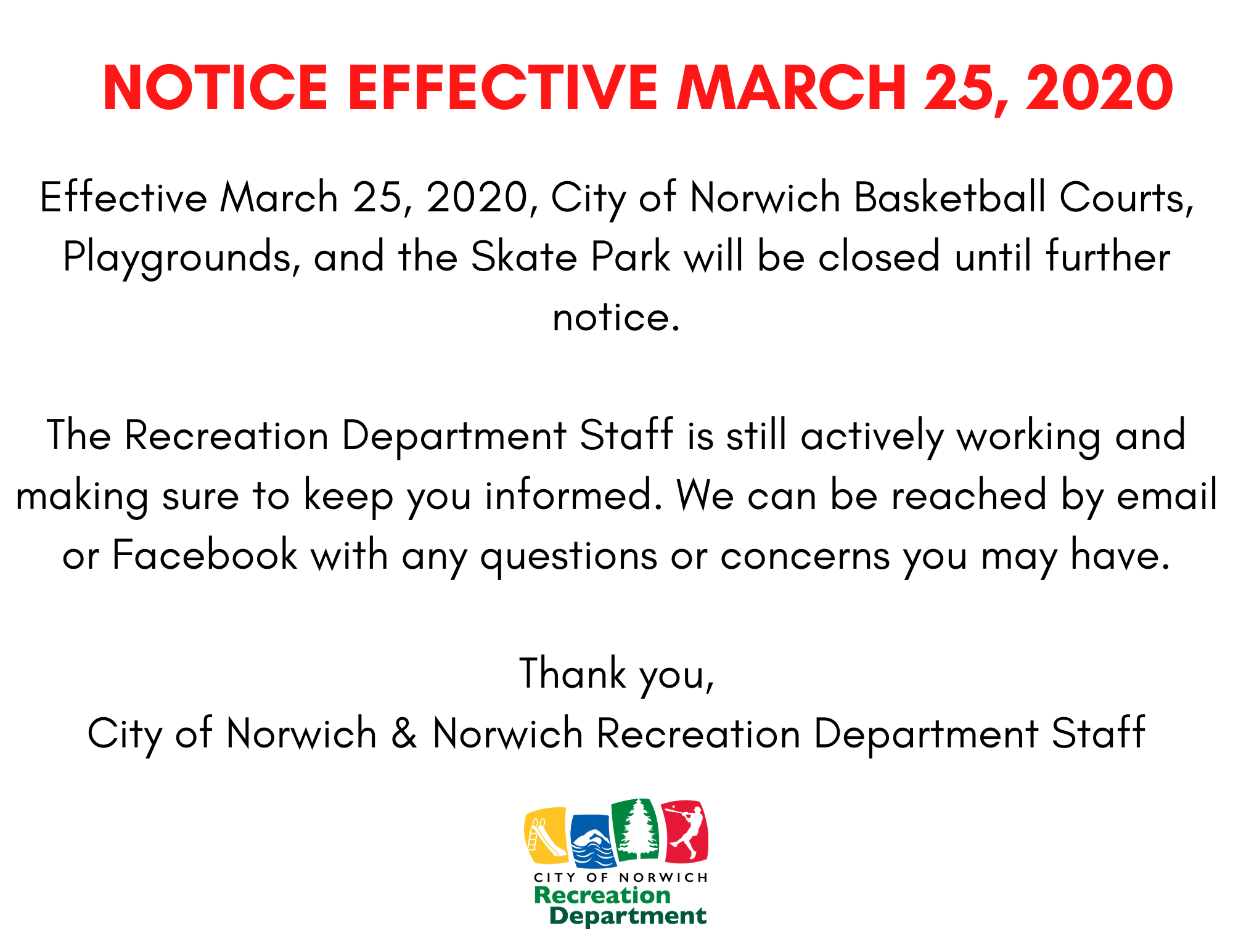 Notice Effective March 25, 2020