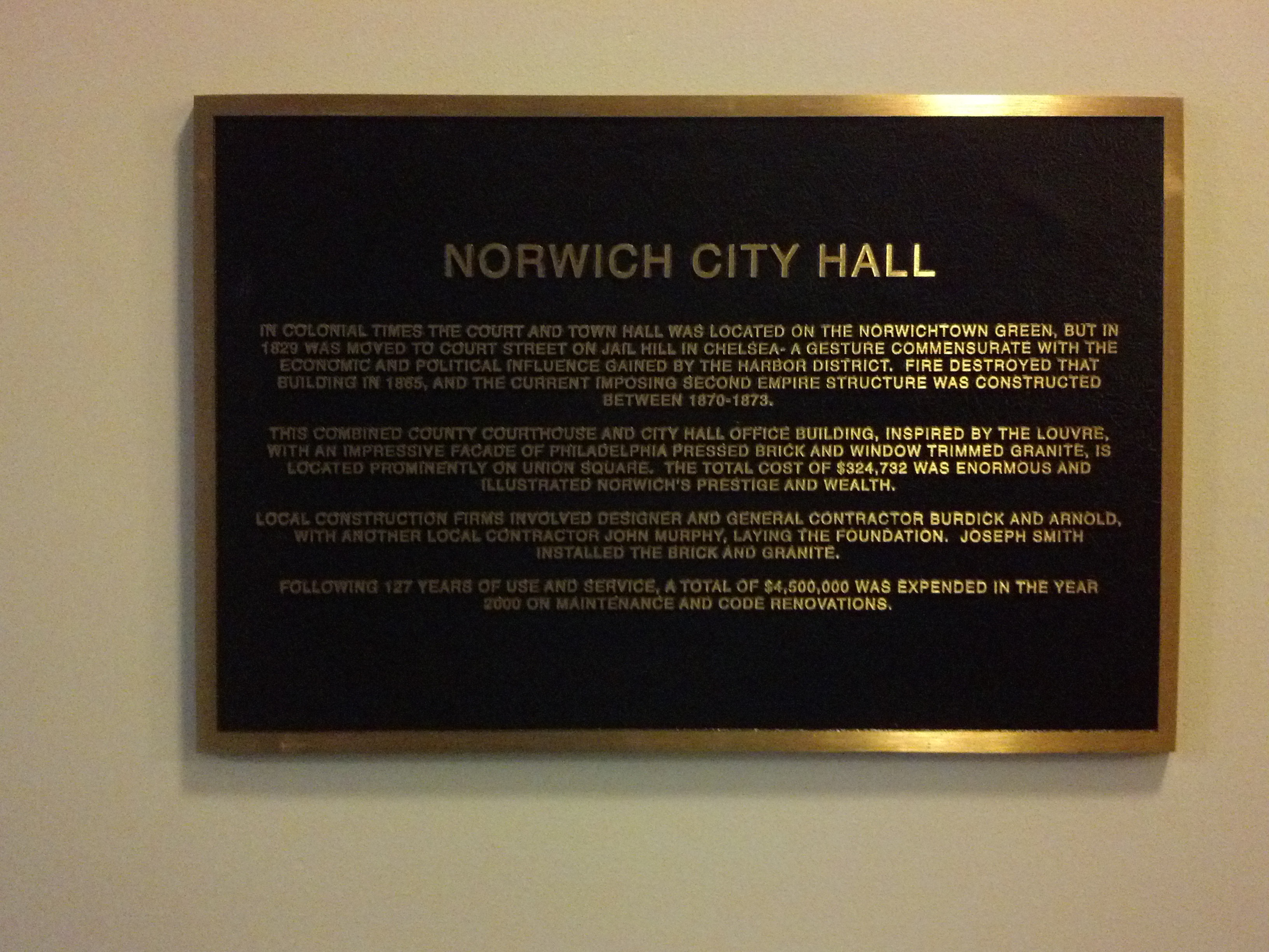 Plaque Describing History of City Hall
